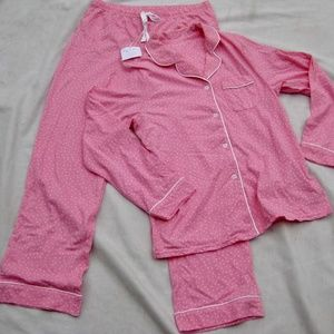 NWT PajamaGram Pajamas Pink Polka Dot Top & Pants